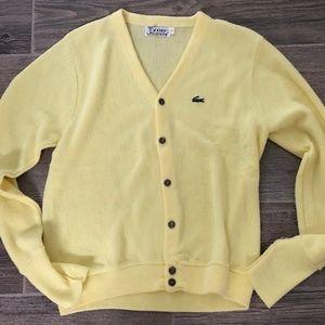 af2182dba57b0 Vintage 80 s IZOD LACOSTE Yellow Cardigan Sweater